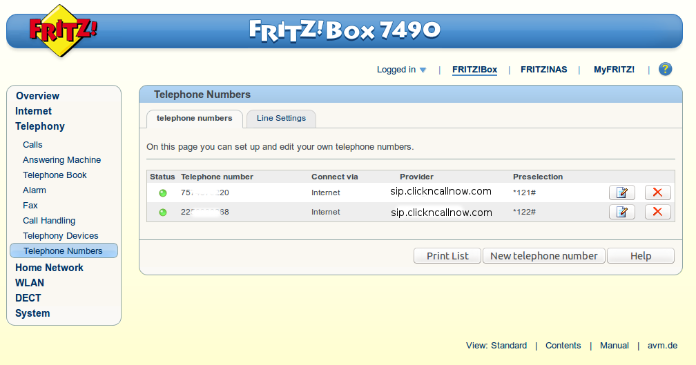 Fritzbox sip config